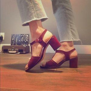 Vintage wine red block heels